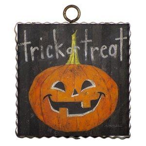 "Mini ""Trick or Treat Jack-O-Lantern"" Metal & Wood"